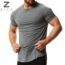 Dry fit em branco <span class=keywords><strong>de</strong></span> manga curta <span class=keywords><strong>de</strong></span> treino dos homens musculares rodada hem T <span class=keywords><strong>camisas</strong></span> <span class=keywords><strong>atacado</strong></span>