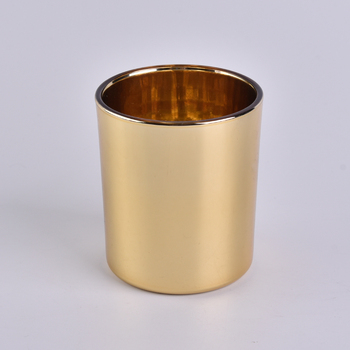 gold shining cataphoresis plating glass candle holders