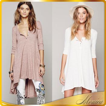 People Cotton Irregular Dress Button O Neck Women Smart Casual Wear ...