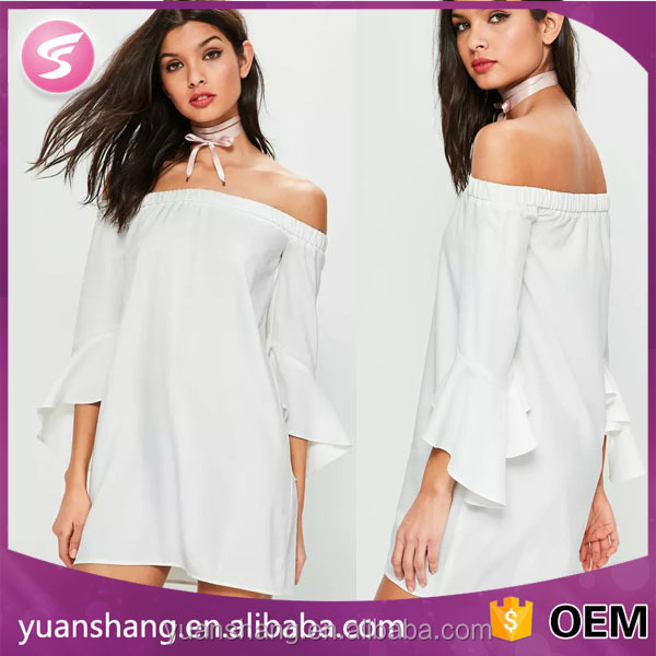 2017 white off shoulder high quality women casual dress