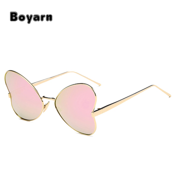 1702f36c2f Top grace Women Butterfly Polarized Sunglasses Pink Lens Gold Frame Glasses  Luxury Brand Heart Shaped Ladies