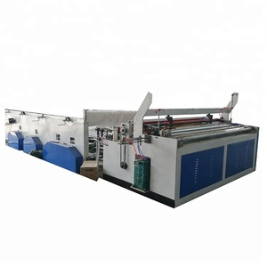 Automatic embossed toilet tissue paper rolls rewinding machine for sale