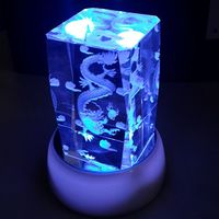 Nice 3D Lase Engraved Glass Crystal Cube Block For Gift