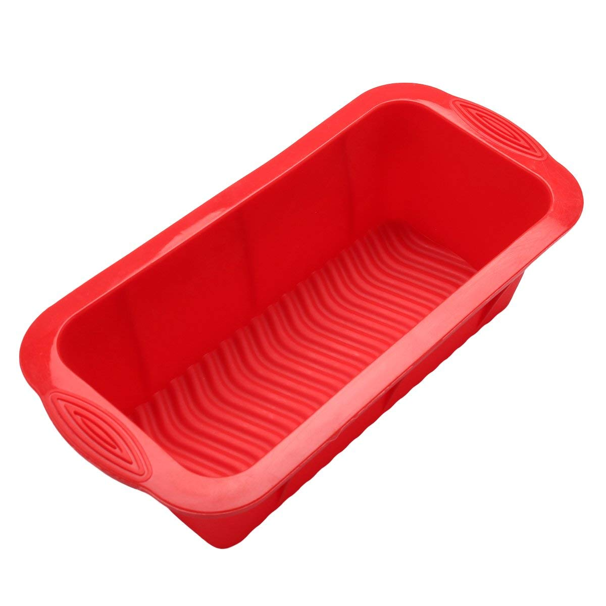BESTOMZ Silicone Bread Loaf Mold Rectangular Food Grade, Non-stick Cake Pan with Handle Grips (Red)