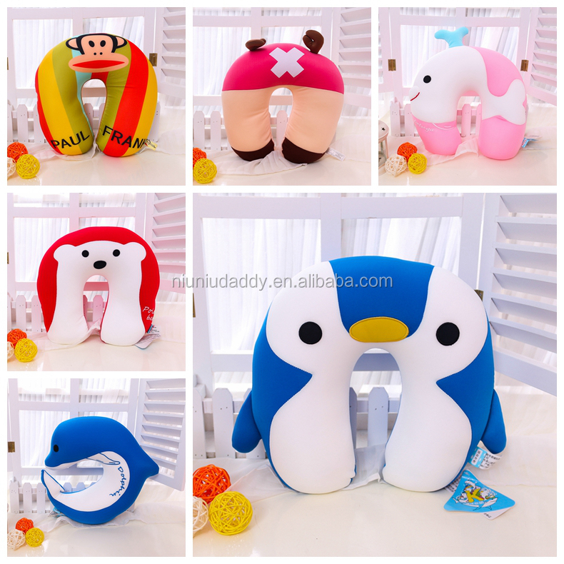 Wholesale animals foam filling pillow travel U shape, kids polka dotted printing neck pillow