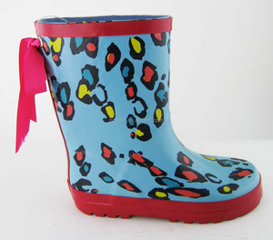 Blue Leopard Print Cold Storage Baby Rubber Rain Safety Boots