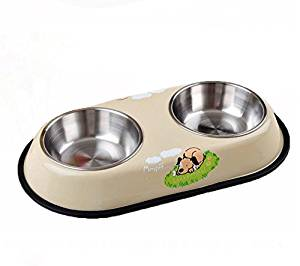 Pet Stainless Steel Double Bowl Cat Bowl Bowls Stainless Steel Pots of Water and Water Dual-use Dual-bowl