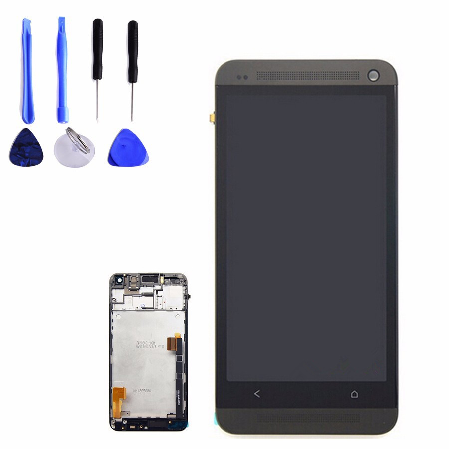 LCD Display / touch screen/digitizer assembly / frame black/blue/gold/red/silver  for HTC ONE M7 (dhl free shipping)