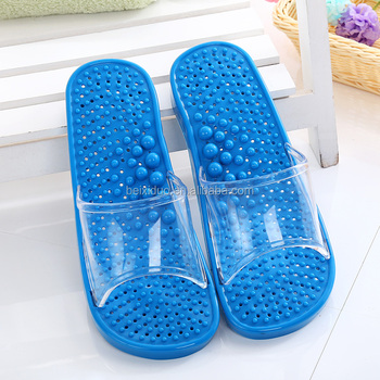 Low price slippers bathroom anti-skid hollow out foot massage slippers