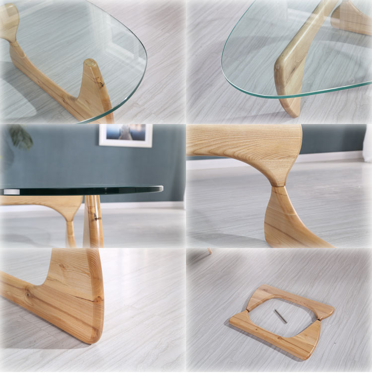 New design modern triangular living room glass teapoy for Teapoy table designs