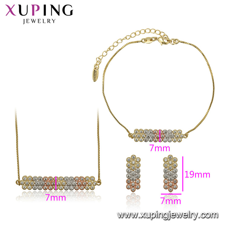 65307 xuping ladies 3 piece copper alloy jewelry set cheap CZ stone necklace earrings bracelet jewelry set