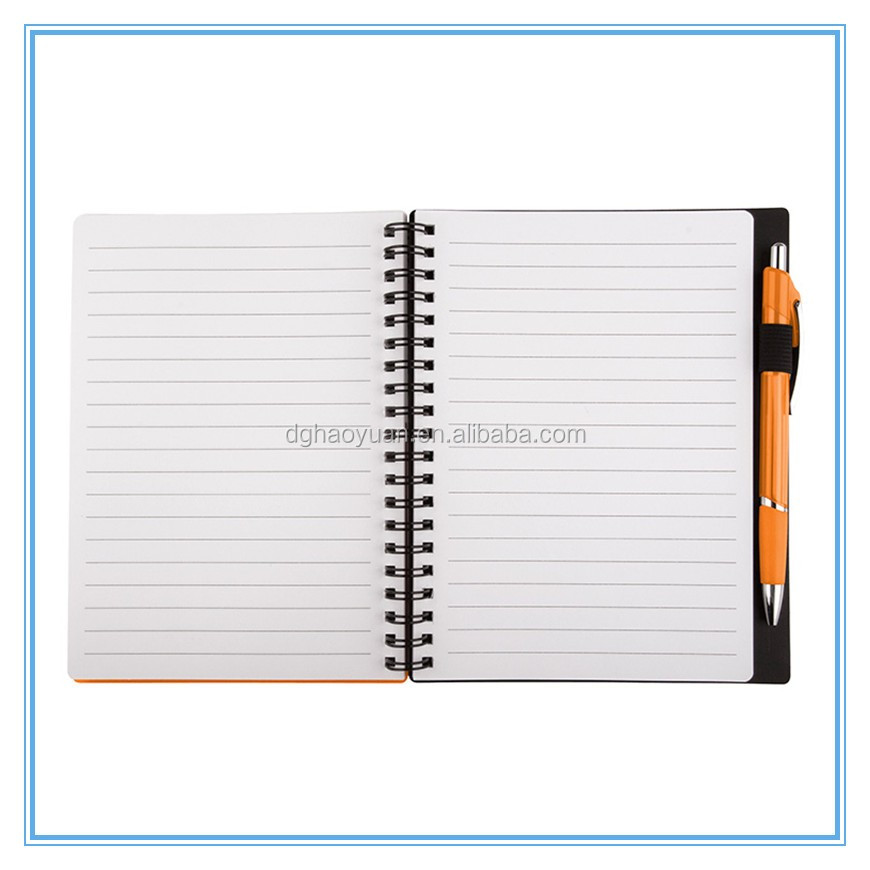 mini spiral notepad with pen plastic coil notebook cheap pp cover