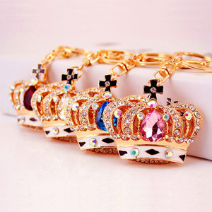 Classic gold plated crown keychain with rhinestone for handbag