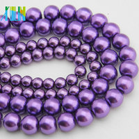 YIWU Pearl Jewelry 12mm Glass Imitation Pearl Beads Dark Purple