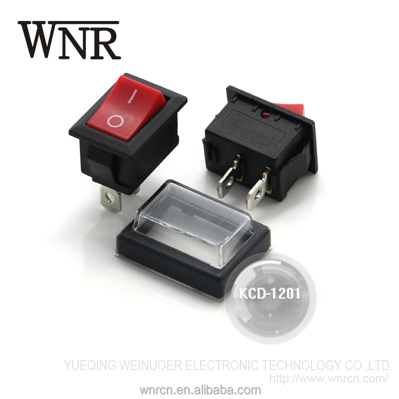 Good quality WNRE 2 pin KCD push button switch KCD-1201 waterproof Rocker Switch