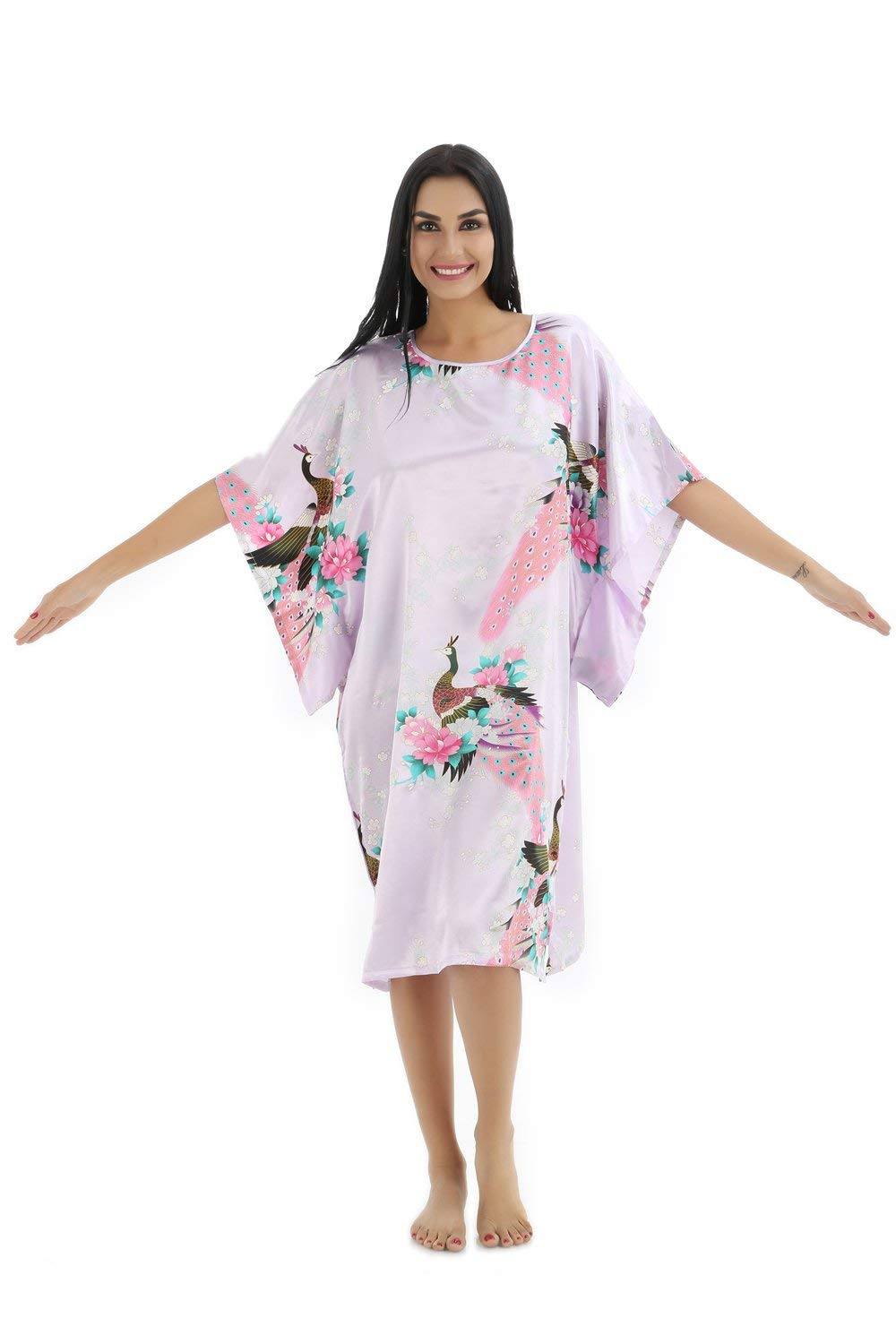 d5869024bf Get Quotations · Animal pattern lady silk bathrobe thin section pajamas  printing single skirt loose large yards home service