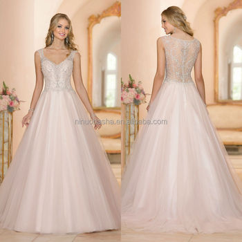 Latest Ball Gown Wedding Dress 2015 V-neck Cap Sleeve See Through ...