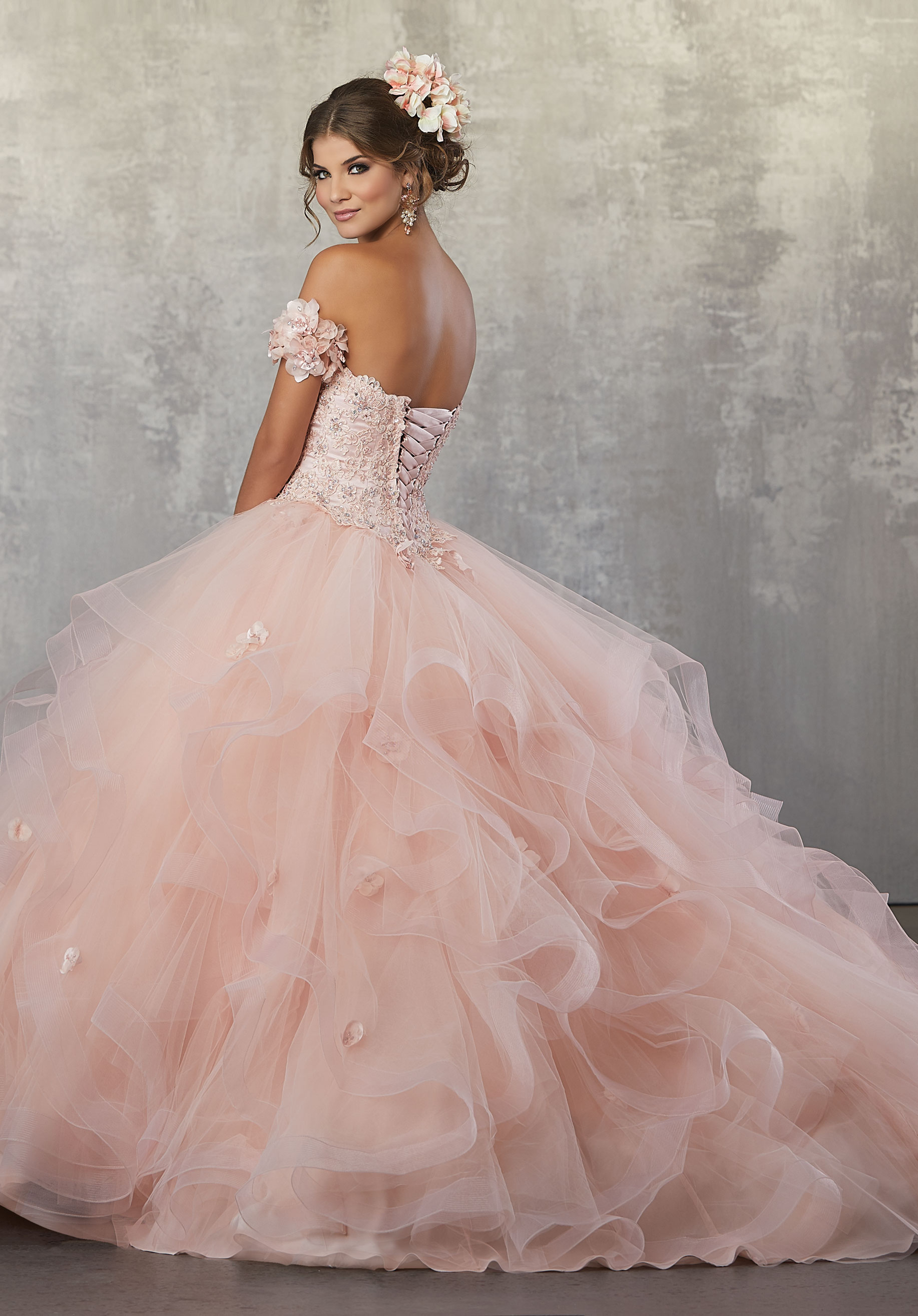 Off The Shoulder Crystal Beads Coral Prom Ball Gown Quinceanera Dresses with Ruffles Flower Puffy Sweet 16 Dress NBW11