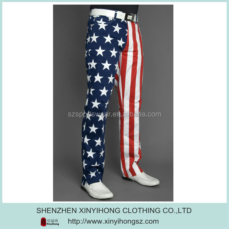 latest american flag pants for men 100%polyester quick dry long