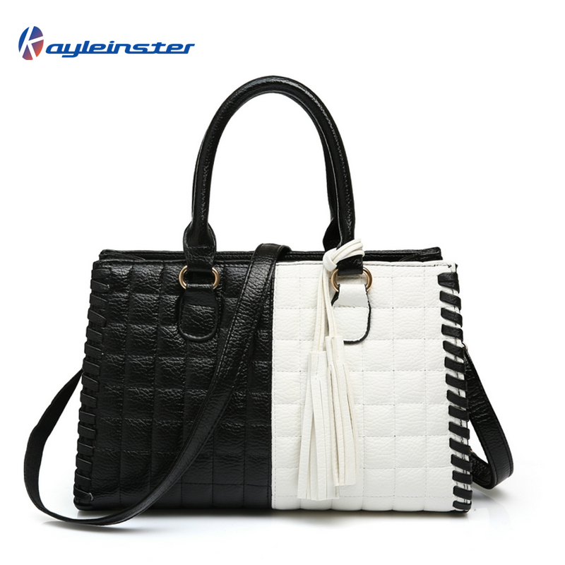 New 2015 Composite Leather Women Handbag Fashion Patchwork Women Shoulder Bag Classic Black and White Panelled Women Bag Tote