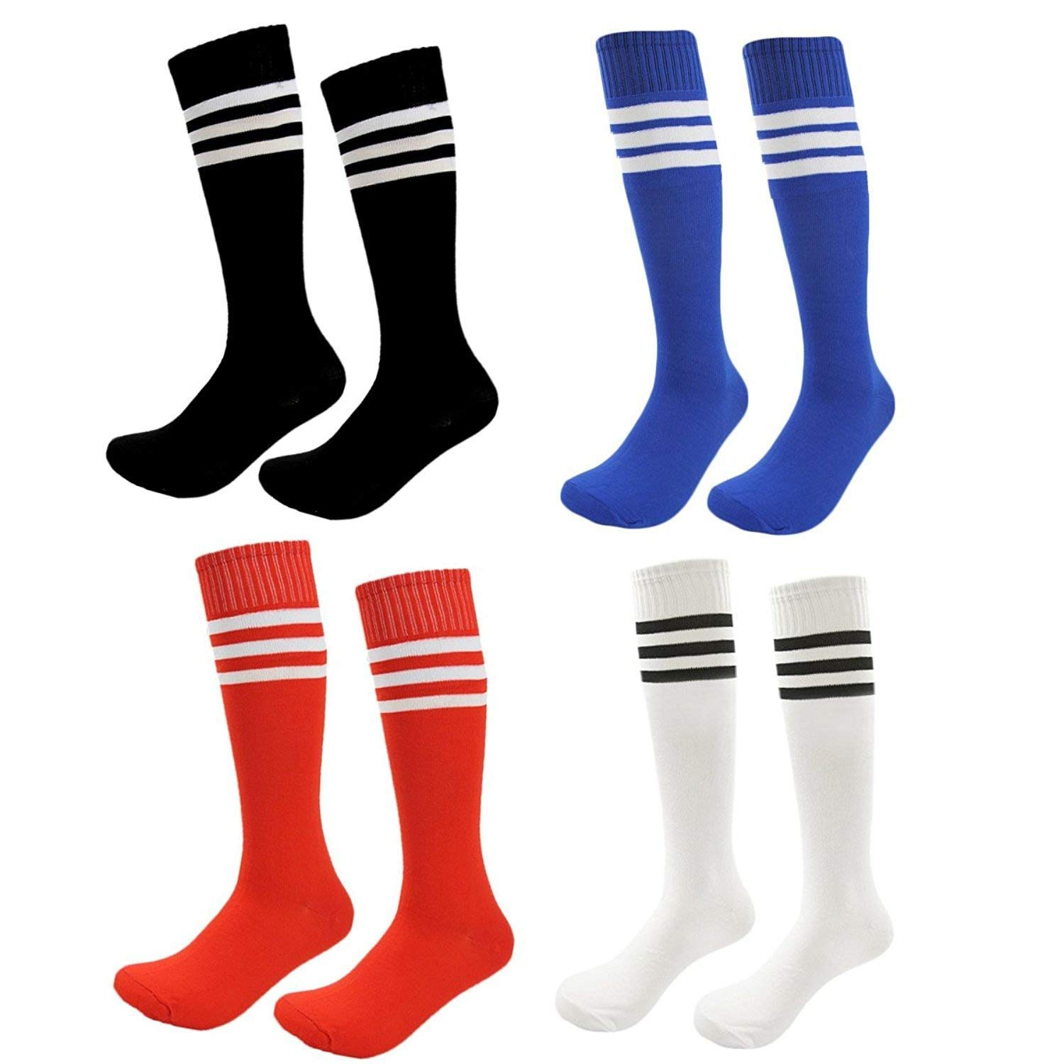 46d0ce2a9 Get Quotations · Kids Soccer Socks 4 Pack Boys Girls Cotton Team Socks  Teens Children Soccer Socks
