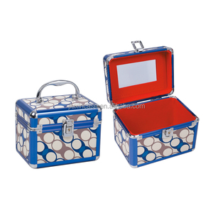 Blue Color Aluminum Frame Mirror 18X13X14 cm mac Beauty Case Box Makeup Tool Kit Storage Box