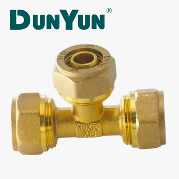 3 way tee brass copper elbow compression fitting 22mm for pex pipe