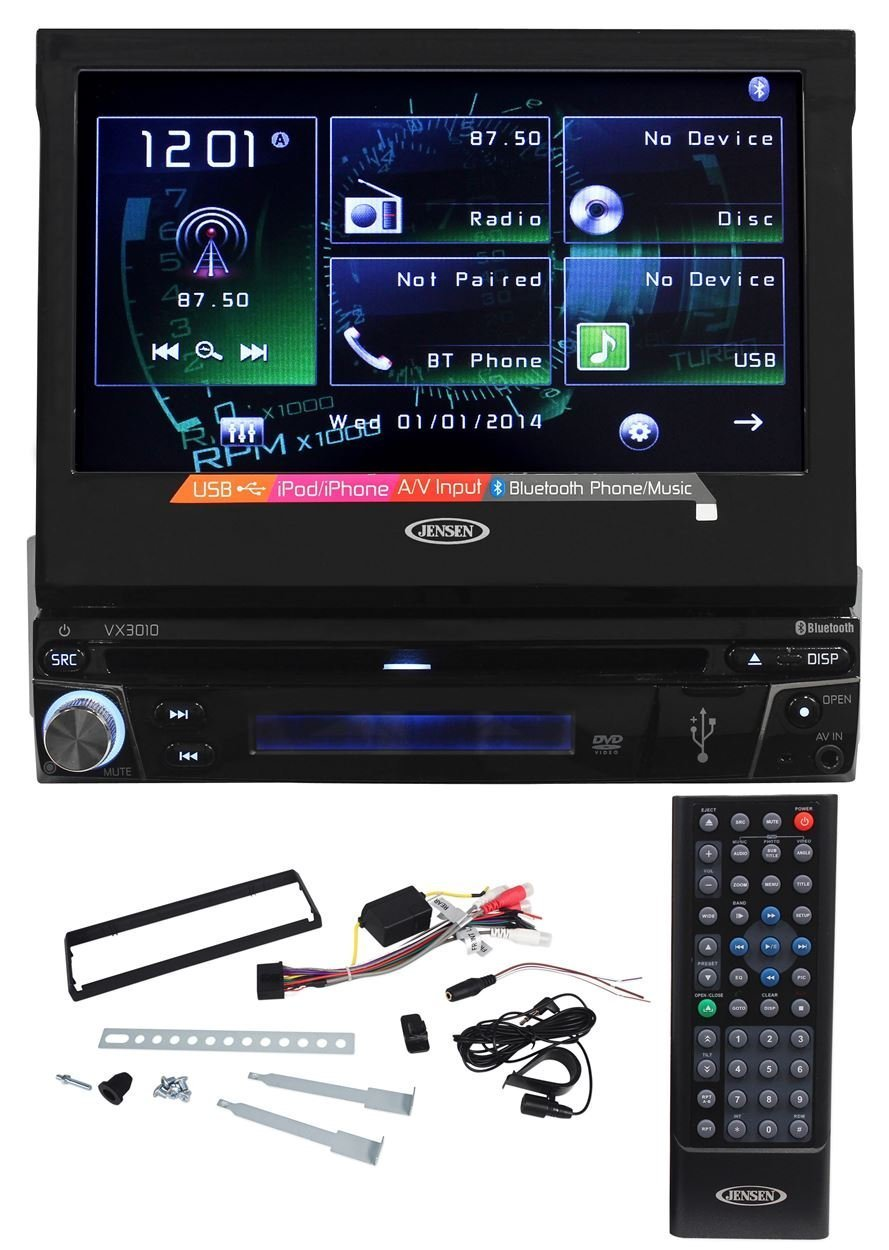 """Jensen VX3010 Single Din 7"""" In-Dash Car DVD Receiver With Bluetooth Music Streaming, AUX/USB Inputs, and iPhone/Android Integration"""