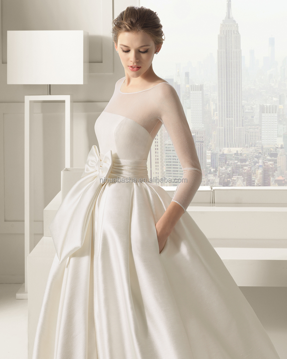 2015 Chic Ivory Ball Gown Wedding Dress Long Sleeve Sheer Covered - Covered Back Wedding Dress