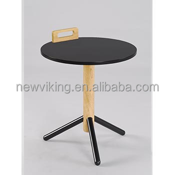 Portable Modern Living Room Furniture New Handle Design Small Safe Metal Wood End Table Sofa