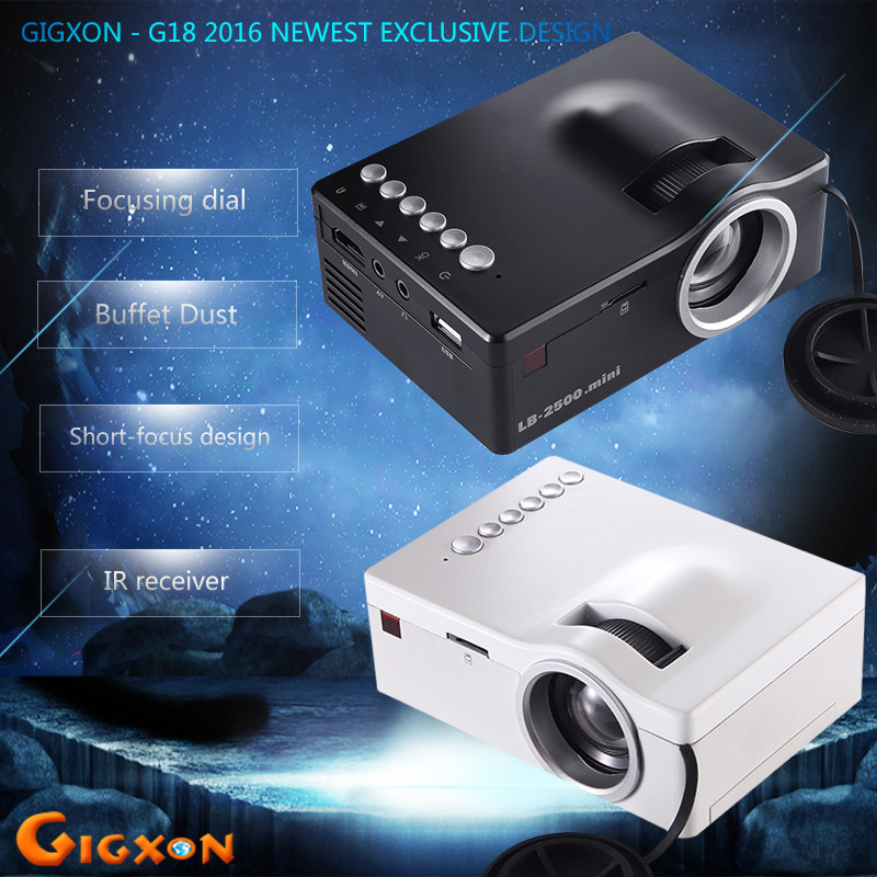 Gigxon - G18 2016 Newest Exclusive design panel Micro Projector With Battery Support AV USB SD HDMI IR