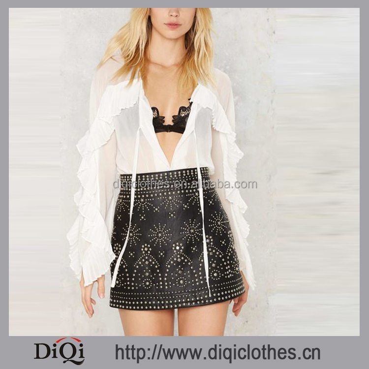Chic New Womens Leather Skirt,Factory Wholesale Price Hippie Studded Leather Skirt