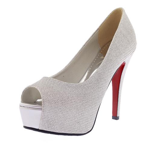 0901ead26ff9 Get Quotations · High Heels Platform Silver Heels Autumn Peep Toe Basic  Wedding Thin Ultra High Heels Ladies Big