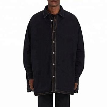 Long Style Black Oversize New Design Denim Jacket For Men Buy