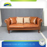 European Victorian Luxury Style Genuine Leather Sofa Set