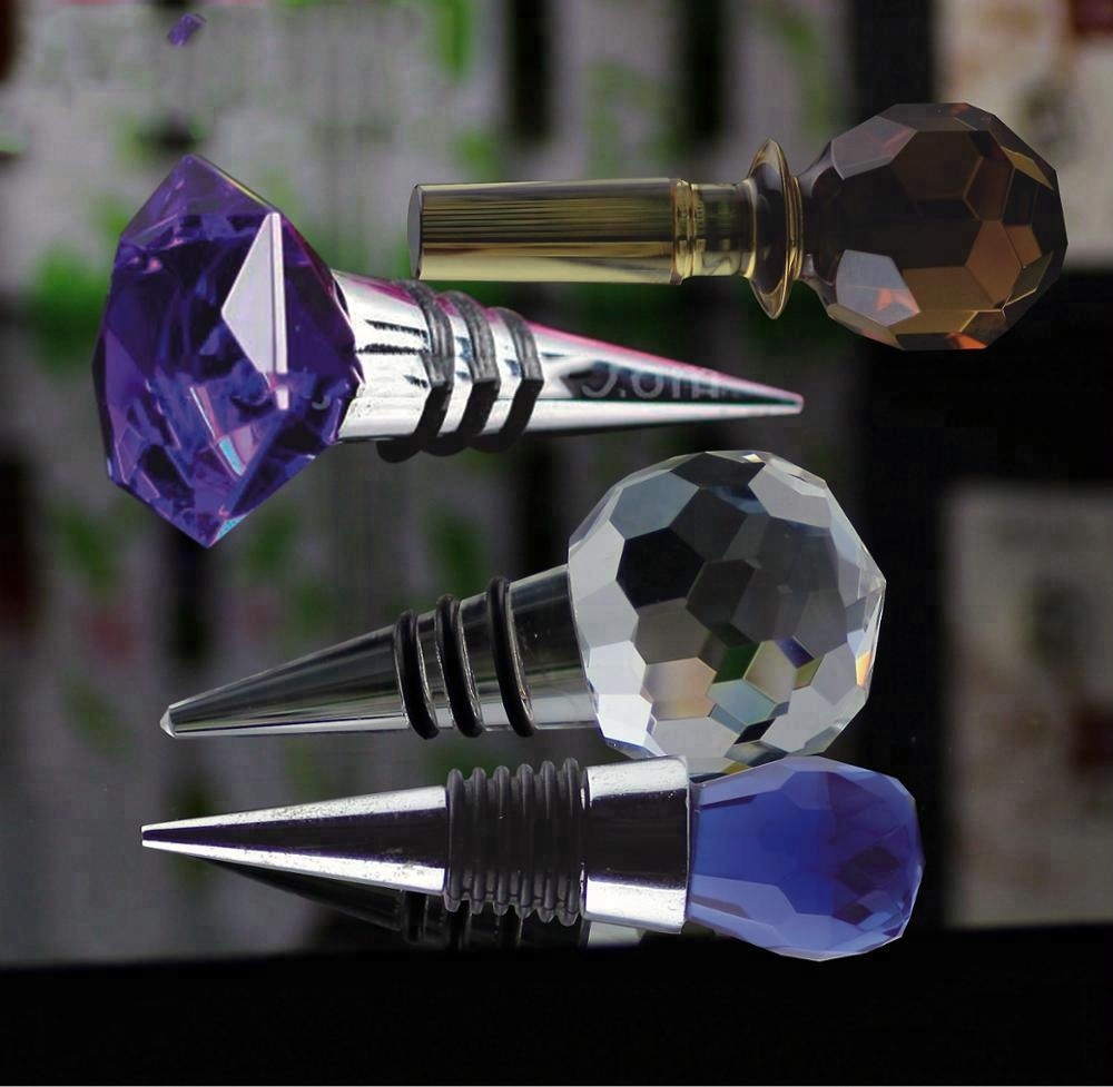 Hot sale crystal wine bottle stoppers/custom crystal bottle stopper/glass bottle stopper