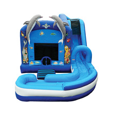 inflatable bouncy castle with water slide/inflatable bounce house for kids / water bounce slide combo