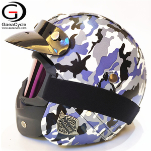 Smart Open Face Motorcycle Helmet Safety With Removable Goggles Mask