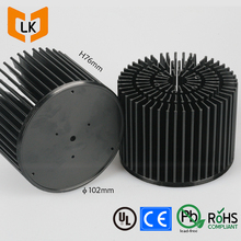 Eco-friendly black color pre drilled round pin fin aluminum heatsink for 30w led 4000k clu048
