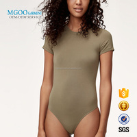Bamboo Spandex Bodysuit Round Neck Bottom Shirt Short Sleeves Blank Body Suit