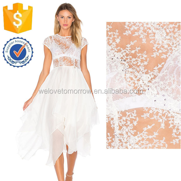Cap Sleeve Summer Sheer Top Ultra-sexy Wedding Dresses For Ladies Manufacture Wholesale Fashion Women Apparel (TF0773D)