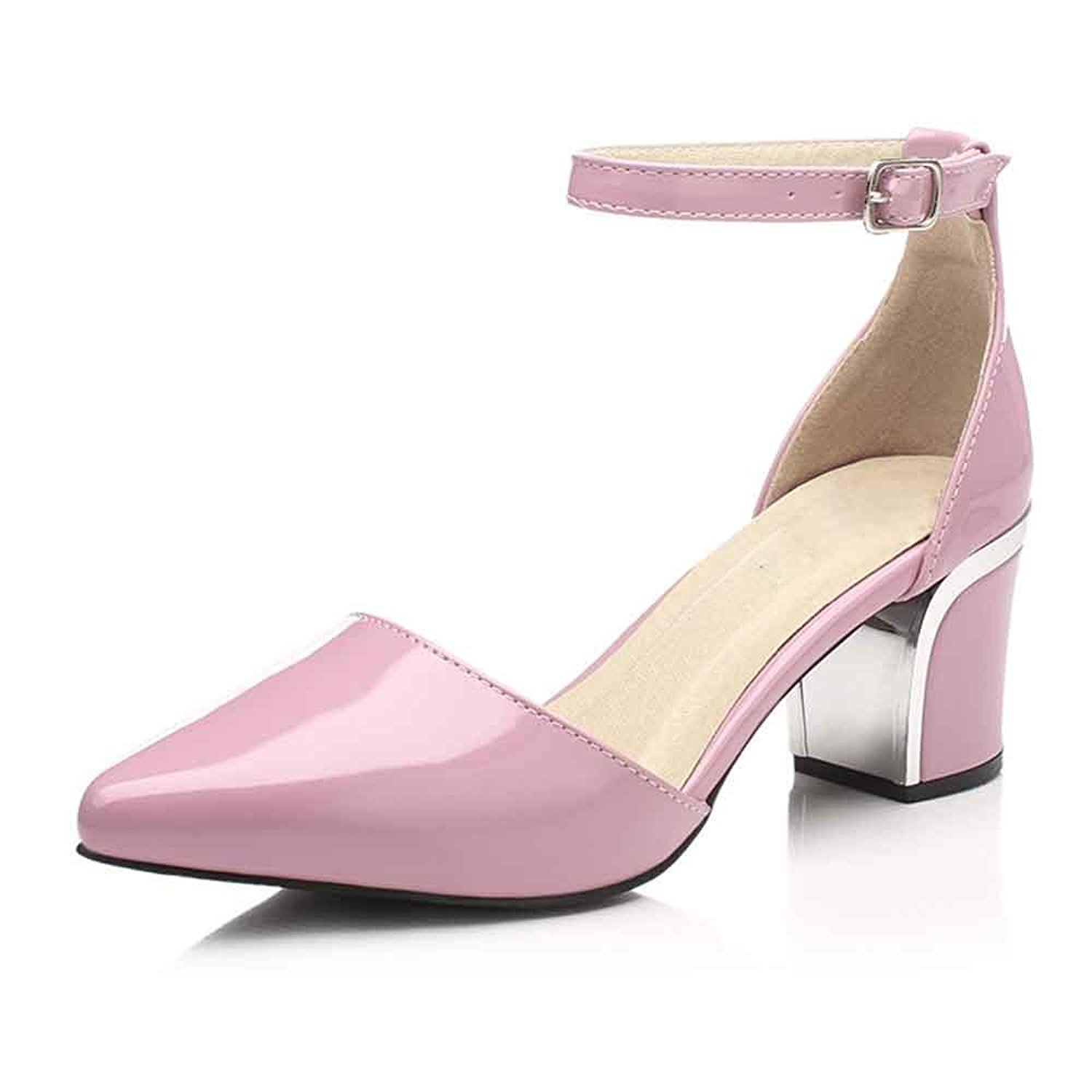 996d26115f996 Get Quotations · LIURUIJIA Women's Low Heel Dress Pump Shoes Chunky Block  Heel ¨C Pointed Toe Ankle Strap