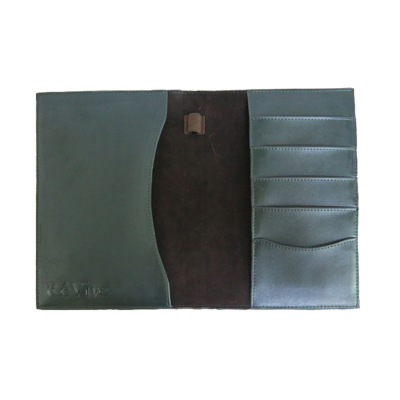 Green Leather Passport Cover business Card Holder Leather