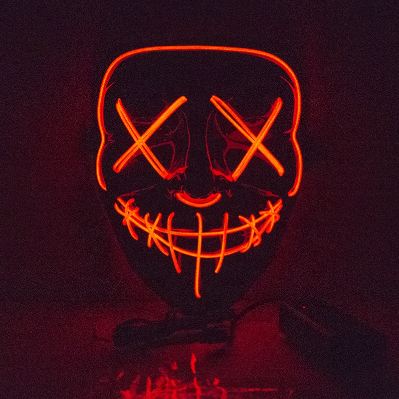 Glow In Dark Plastic Halloween Masker LED Light Up Masker Halloween Purge Mask Voor Festival