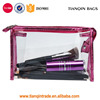 Waterproof Clear Hand Pouch With Zipper For Cosmetic Bag Wash Storage Bag For Travel(Rose Red)
