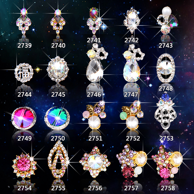 ## Ming LEEE NEW Pink/red/blue heard round Waterdrop 3D Nail Charm High Qulity Rhinestone Nail Art 3D Gem Stone Sticker
