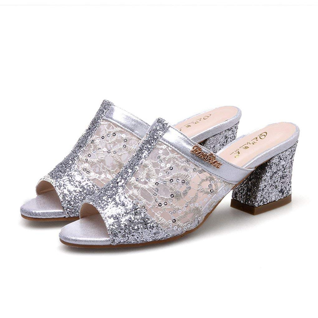45f6c315c7cbb Get Quotations · Zarbrina Womens Chunky Mid Heels Sandals Ladies Sequins  Mesh Open Toe Breathable Cute Soft Slides Shoes