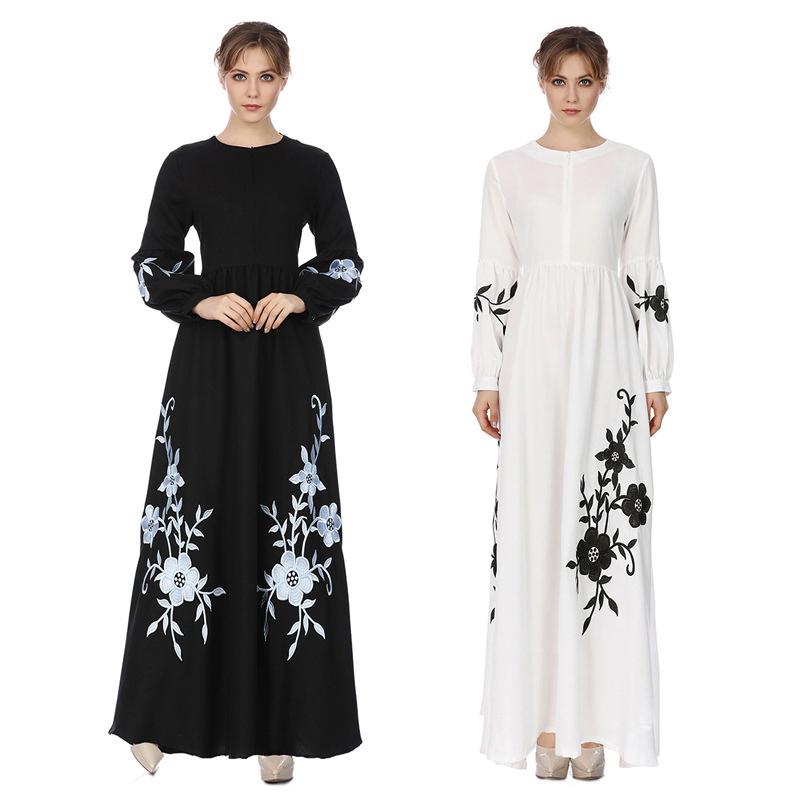 2018 New Arrival Designs Dubai Black Abaya Dress Flowers Embroidery