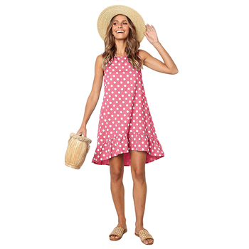 2019 Summer Dress Women Polka Dot Print Mini Dress Sleeveless Dresses With Pocket
