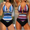 Plus size S XXL 2016 summer bohemia printed high cut one piece swimsuit women monokini push